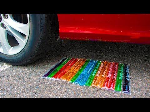 Crushing Crunchy & Soft Things By Car! - Rainbow Popsicles Vs Car