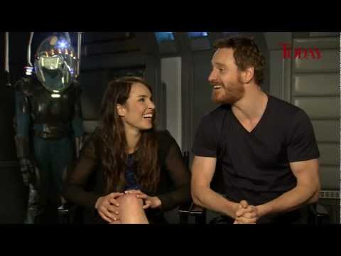 Prometheus stars Noomi Rapace and Michael Fassbender messing around