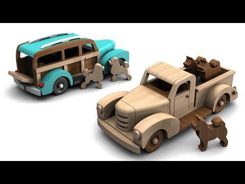 Wood Toy Plans - 1940 Pickup N Estate Wagon