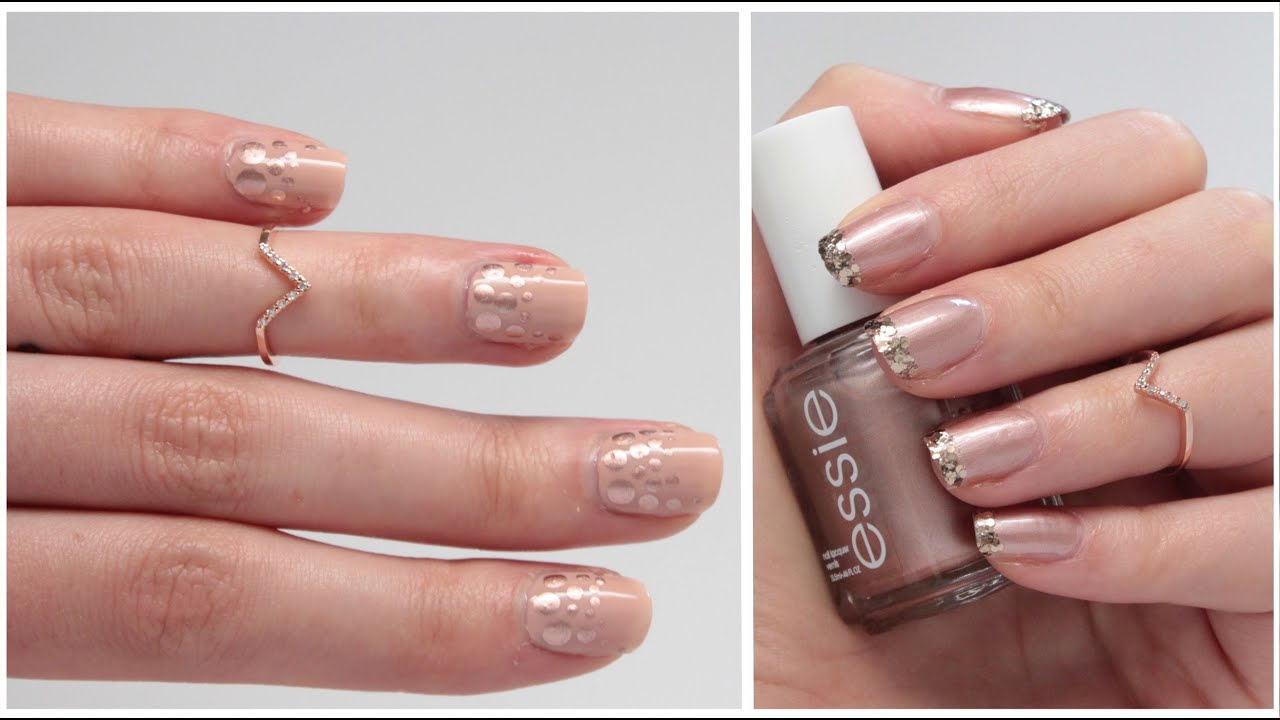 ❥ NAIL ART ROSE GOLD | Simple, Rapide et Chic - YouTube