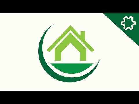 How To Make Green Eco Home / House Logo Design In Adobe ...