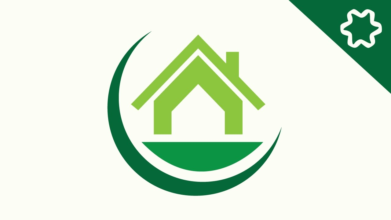 How to make green eco home house logo design in adobe for Household design logo
