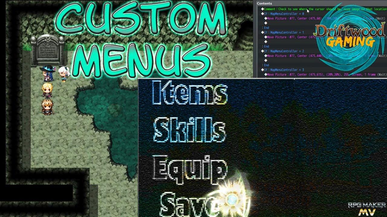 RPG Maker MV Tutorial - How to Make a Custom Menu - RPGMMV RMMV Tut