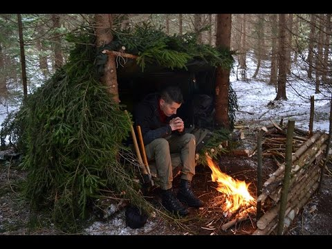 HD Winter Debris/LeanTo Bushcraft Shelter Overnighter in Back Country