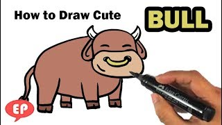 How to Draw a Cute Bull - Easy Pictures to Draw Step by Step