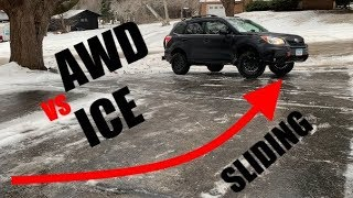 Subaru AWD with X-MODE vs Sheet of Ice!