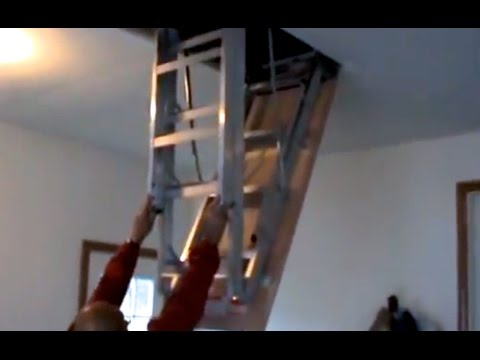 How to install attic pull down stairs youtube for Pull down attic stairs installation