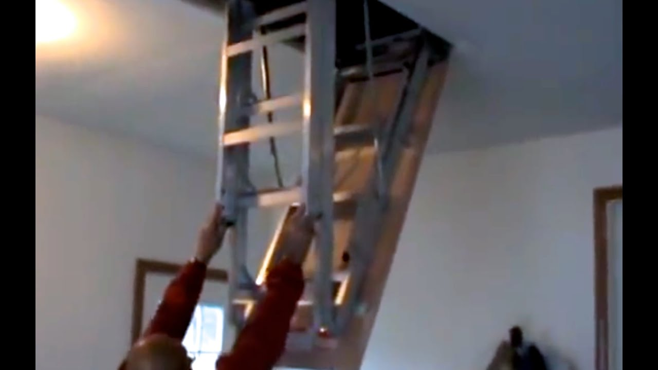 How To Install Attic Pull Down Stairs Youtube   Folding Attic Stairs With Handrail   Attic Remodel   Attic Renovation   Ceiling   Stira   Rainbow F2260