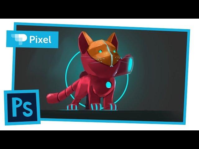 Рисуем счетч робокота в Adobe Photoshop | графический планшет | цифровое рисование