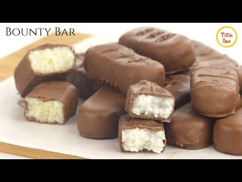 Homemade Bounty Bar Recipe For Kids By Tiffin Box | How To Make Coconut Chocolate Bar