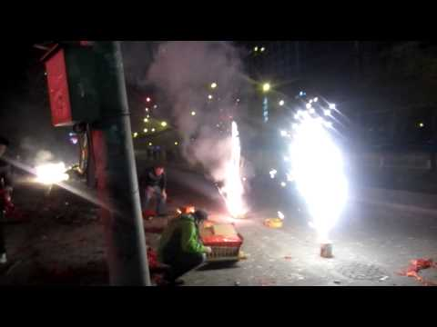 Chinese New Year in Beijing - firework madness outside the James Joyce pub