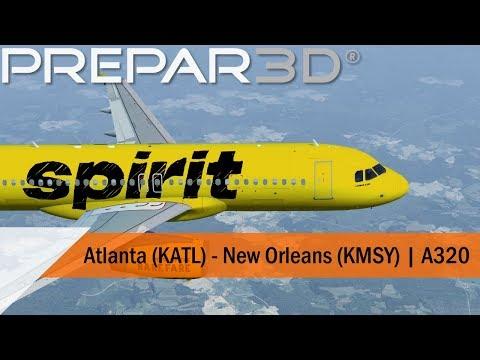 P3D V4 5 Full Flight – Spirit A320 – Atlanta to New Orleans (KATL