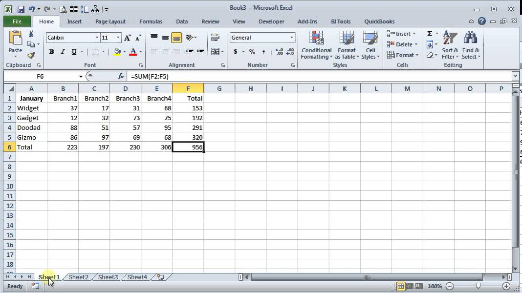 Using Excel S Sum Function Across Multiple Tabs Youtube