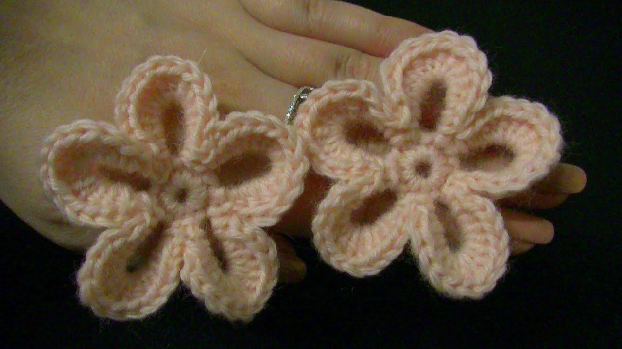 Blume häkeln - einfach und schnell - 5 Blätter - 3D Blume - YouTube