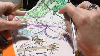 Using Gel Pens To Color A Picture From The Mystical Fairy Coloring Book By Infinity Coloring Books