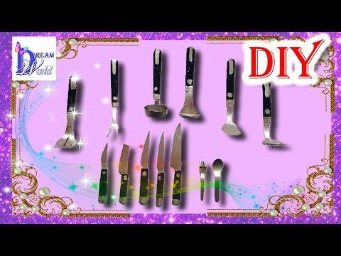 Как сделать Кухонные аксессуары для кукол (ложки, вилки, ножи, половник и прочее). DIY.