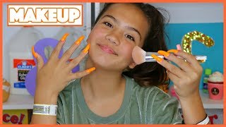 "DOING MY MAKEUP WITH SUPER LONG NAILS ""IT"