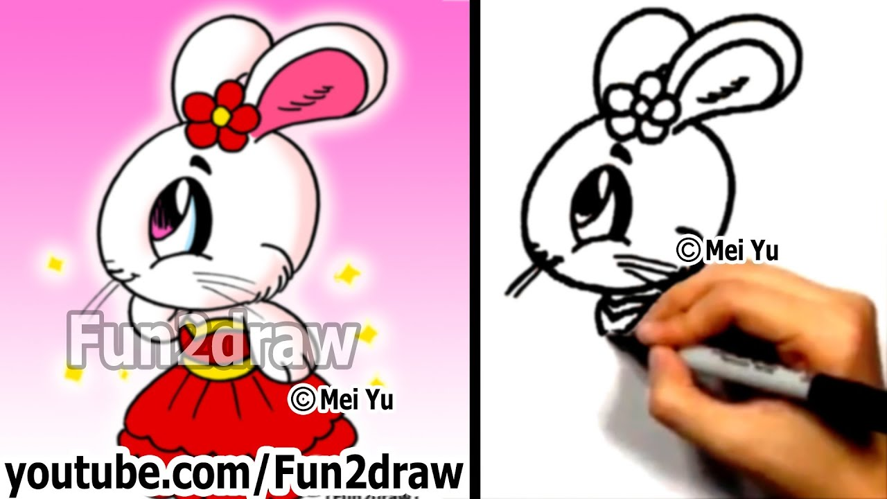 How To Draw A Cartoon Bunny Girl  Drawing Tutorials  Cute Art  Fun2draw   Youtube