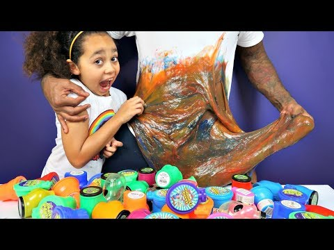 DIY GIANT SLIME!! Mixing 50 Tubs Of Noise Putty Slimes | Toys AndMe