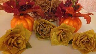 Роза из осенних листьев! Своими руками! Осенние краски!