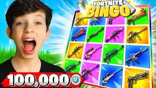 1v1 Rainbow Bingo Challenge vs My Little Brother! *100k VBucks*