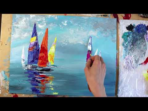 Colorful Sail Boats / Abstract Painting / Daily Art /Day #27
