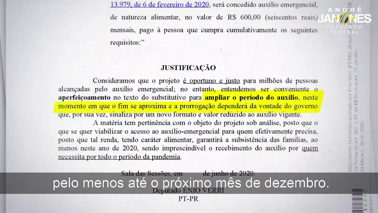 SOBRE A PRORROGAÇÃO DO AUXILIO EMERGENCIAL ATÉ DEZEMBRO: