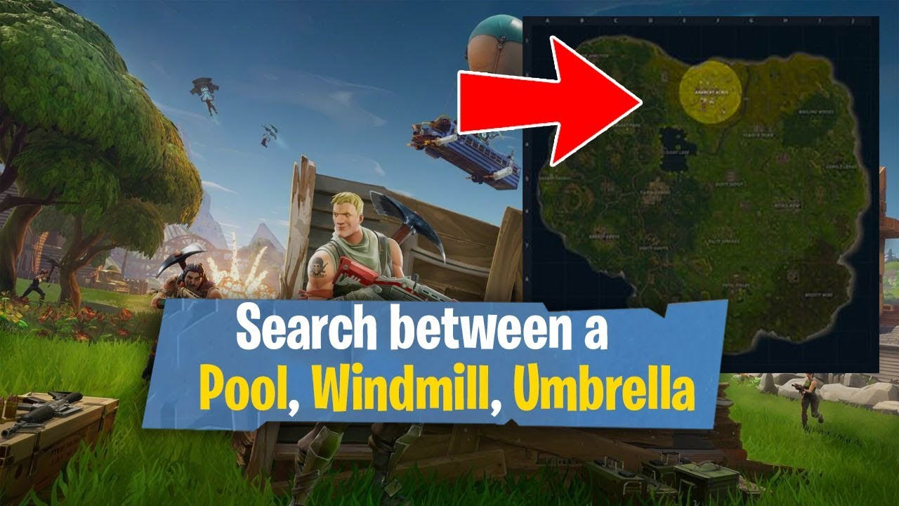 search between a pool windmill and an umbrella