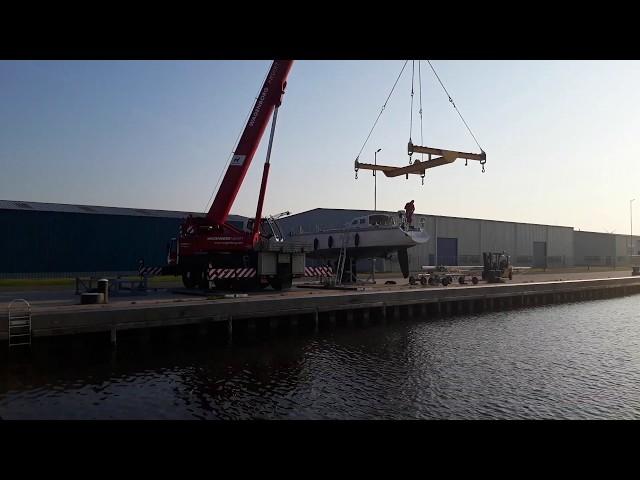 Lifting Sailboat   Waarschip Yachts Boatyard Dellfzijl Netherlands