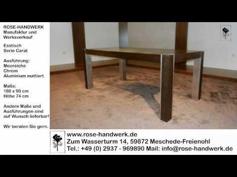 Esstisch Carat Holz Mooreiche Metall Chrom Alu matt