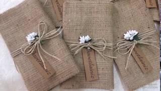 çuval bezinden ( hasırdan ) davetiye yapımı diy - kolay davetiye yapımı - 2