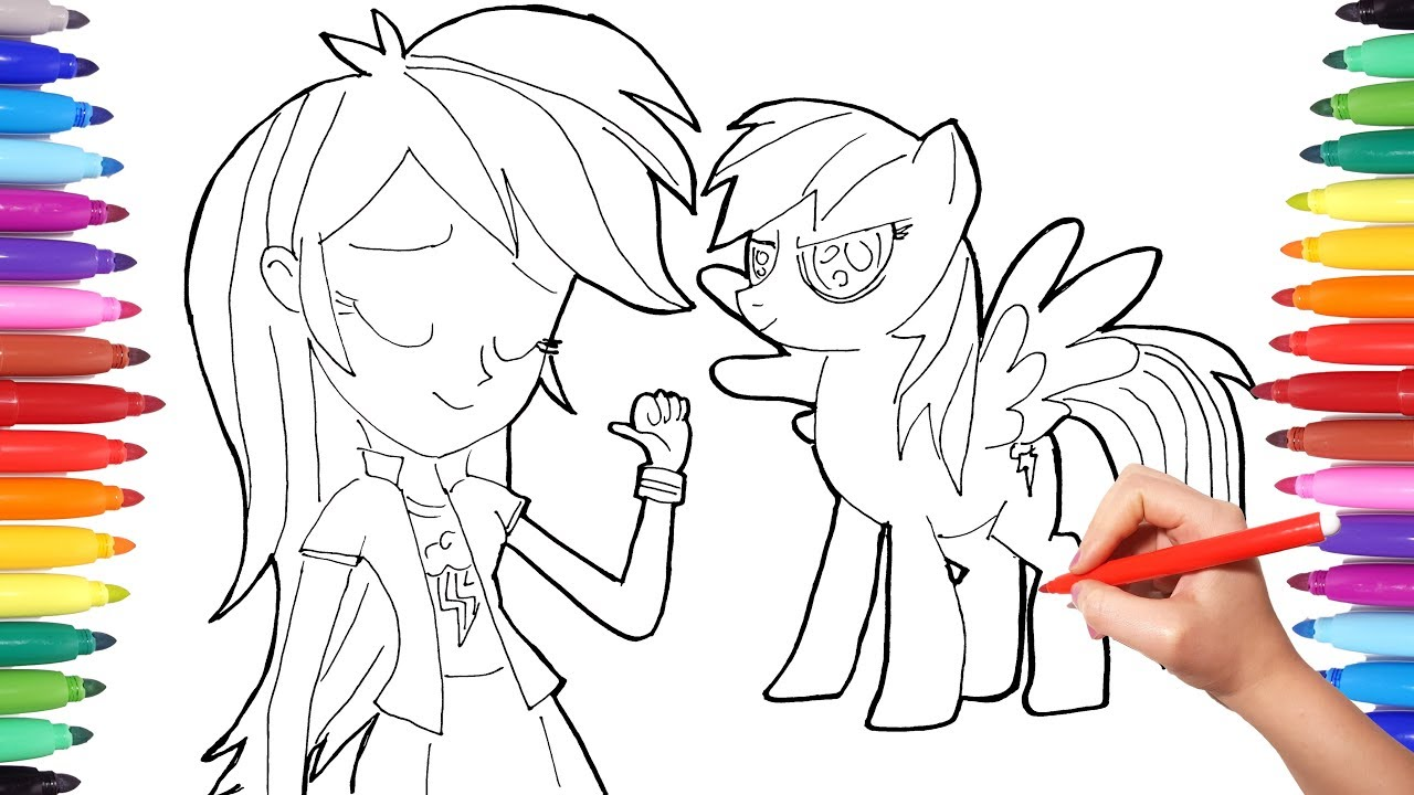 RAINBOW DASH Coloring Pages for Kids Equestria Girls and ...