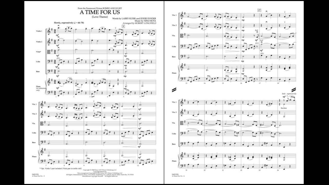 a time for us sheet music pdf