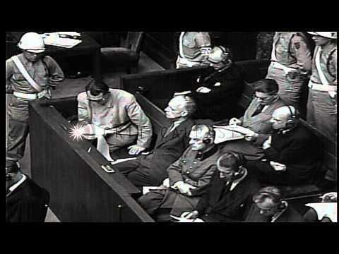 Sir Hartley Shawcross delivers speech at court in the Nuremberg trials, Germany. HD Stock Footage