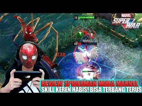 NYOBA HERO SPIDERMAN MOBA MARVEL! NGERI BANGET SKILL NYA BISA TERBANG TERBANG! MARVEL SUPER WAR