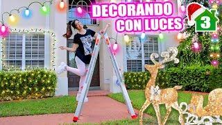 QUÉ MIEDO CON LA ESCALERA ALTA 😱 Decorando la Casa por Fuera con Luces de Navidad ✨  SandraCiresArt