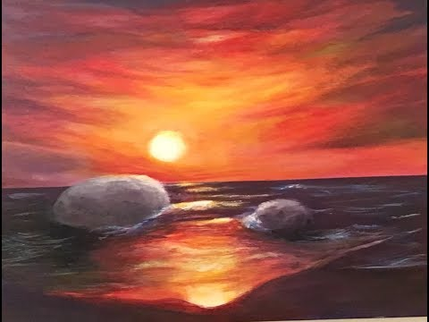 Acrylic Paint Tutorial how to paint Sunset at the Sea