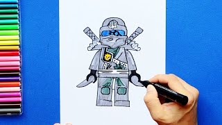 How to draw and color Zane - LEGO Ninjago