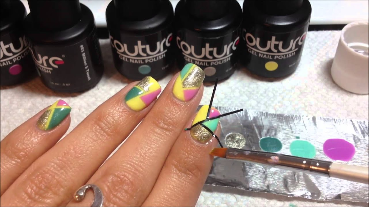 Color Blocking Nail Art Using Couture Gel Nail Polish - YouTube