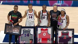 Aari mcdonald, sam thomas and trinity baptiste, along with senior personnel, were celebrated on day by arizona women's basketball after the wildcats b...