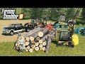FS19- BUILDING A LOG CABIN! CUTTING DOWN TREES & STACKING LOGS | MULTIPLAYER EP #1