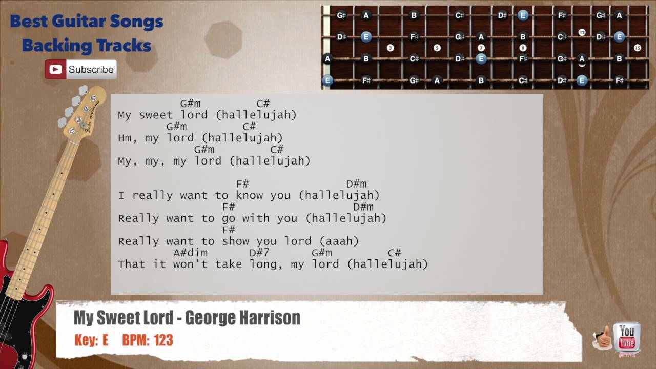 My sweet lord george harrison bass backing track with scale my sweet lord george harrison bass backing track with scale chords and lyrics hexwebz Choice Image