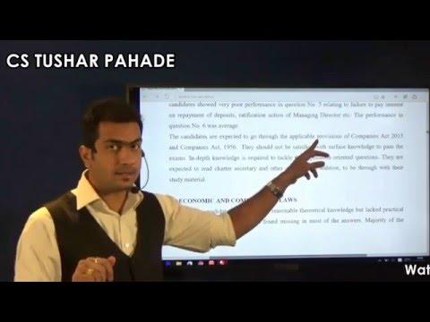 CS EXECUTIVE - Key to SCORE 75+ in COMPANY LAW by CS TUSHAR PAHADE SIR