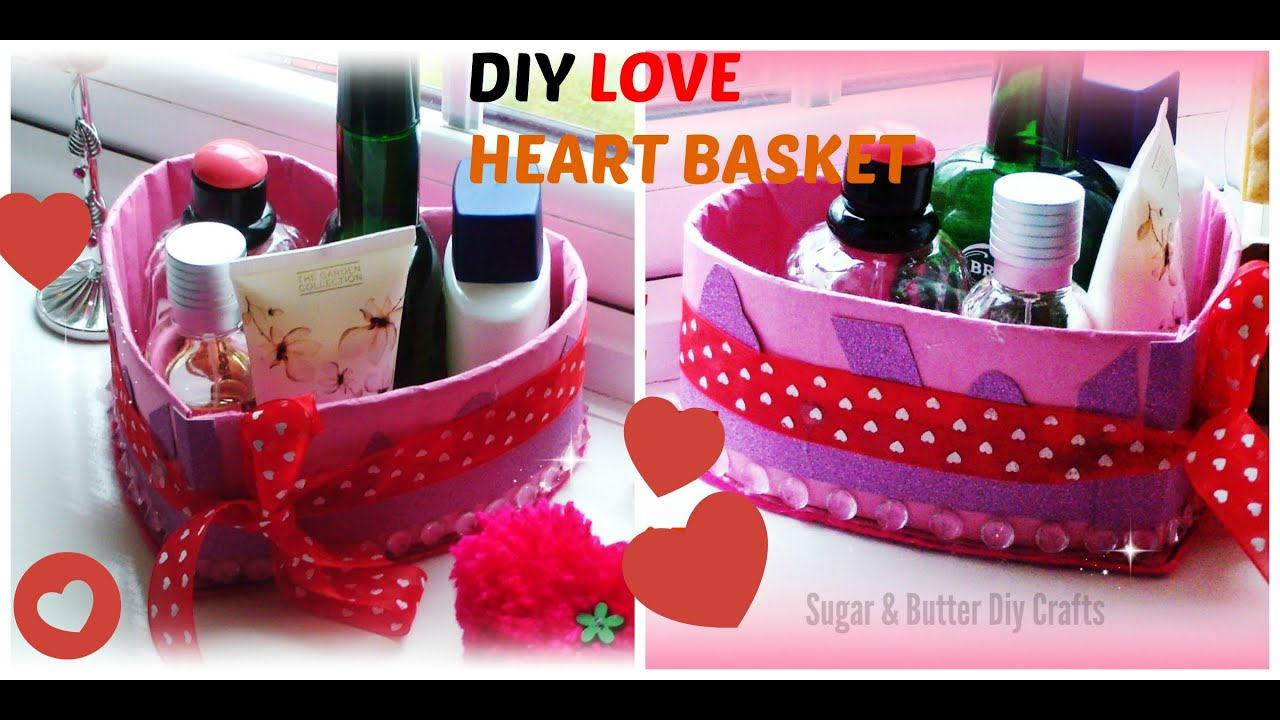 Diy crafts projects heart gift basket out of cardboard for Best of waste material ideas