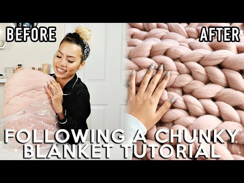 TRYING TO FOLLOW A CHUNKY KNIT BLANKET TUTORIAL | SAAAMMAGE