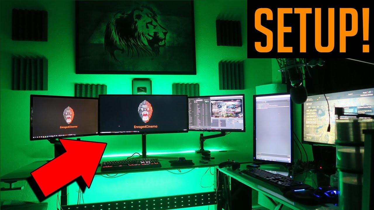Gaming Setup 2017 - Dual Pc  Insane Internet Speeds  5 Monitors O O  U0026 More