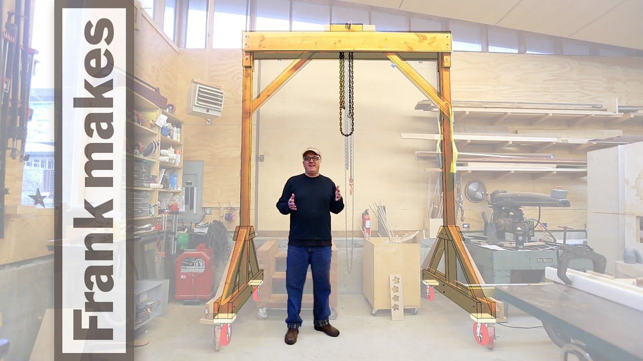Wooden gantry crane youtube for Shop hoist plans