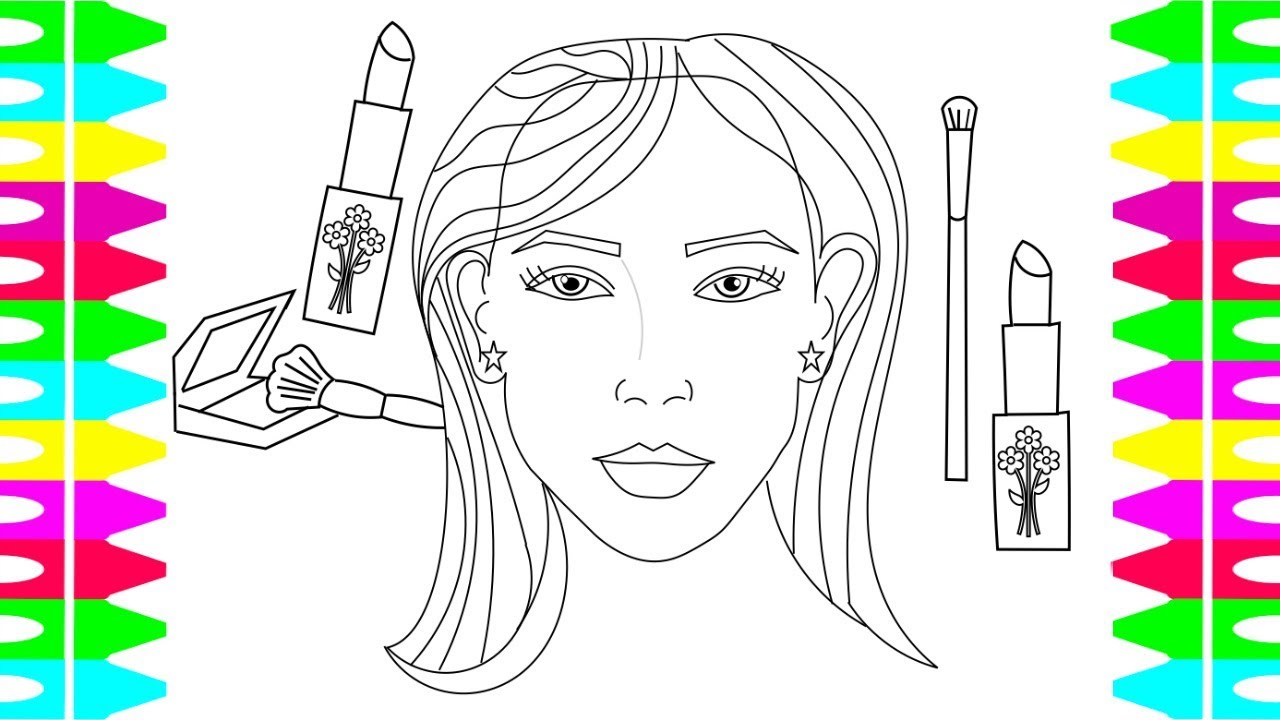 coloring pages for kids how to draw a woman s face coloring makeup