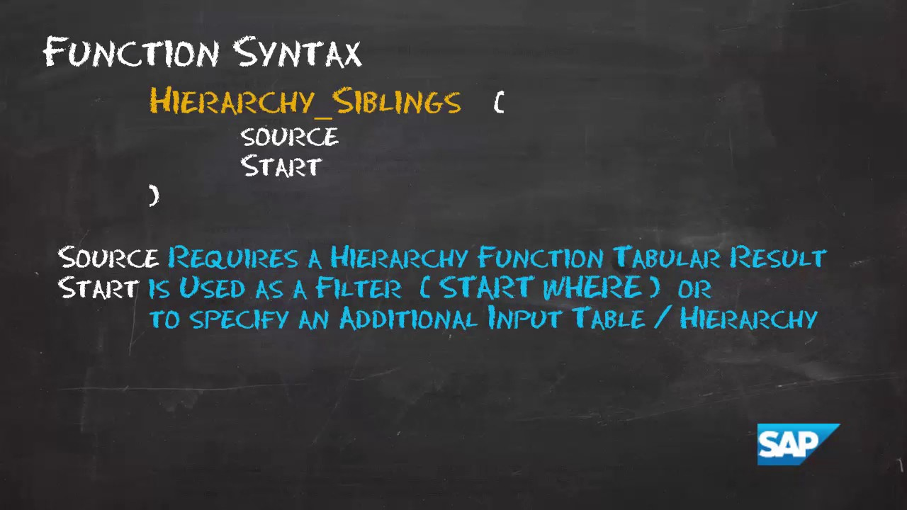 SAP HANA Academy - SQL Functions: Hierarchy Siblings [2 0 SPS00]