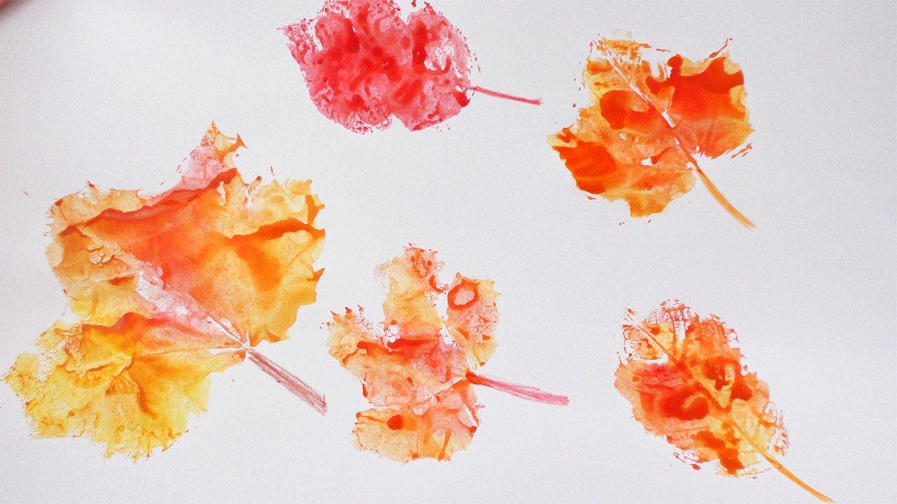 Herbst Blätter Stempeln Cooles Bild Mit Herbstlaub Wasserfarbe Gestalten Farbexperimente